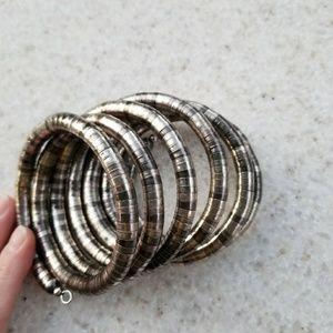 Stretchy silver tone bracelet